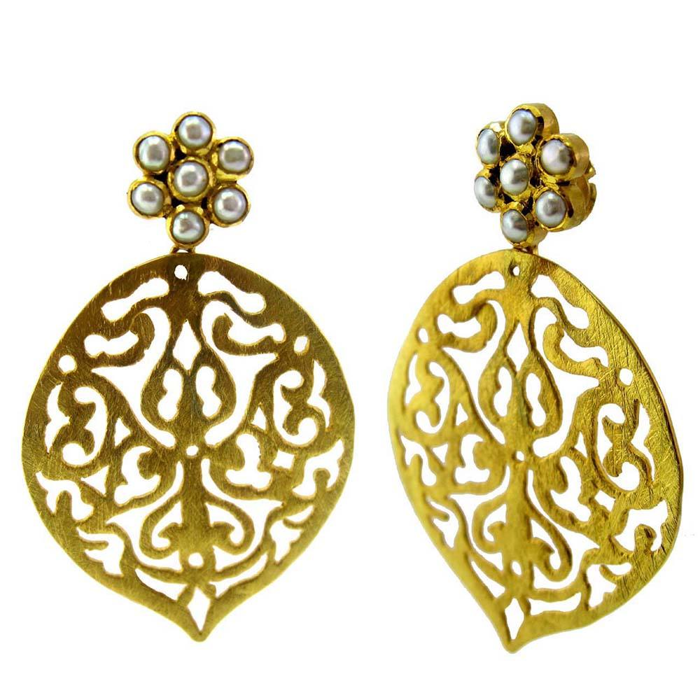 Carved Sterling 925 Silver Gold Plated Filigree Pearl Navratna Wholesaler Supplier Customization Trendy Long Unique Earrings