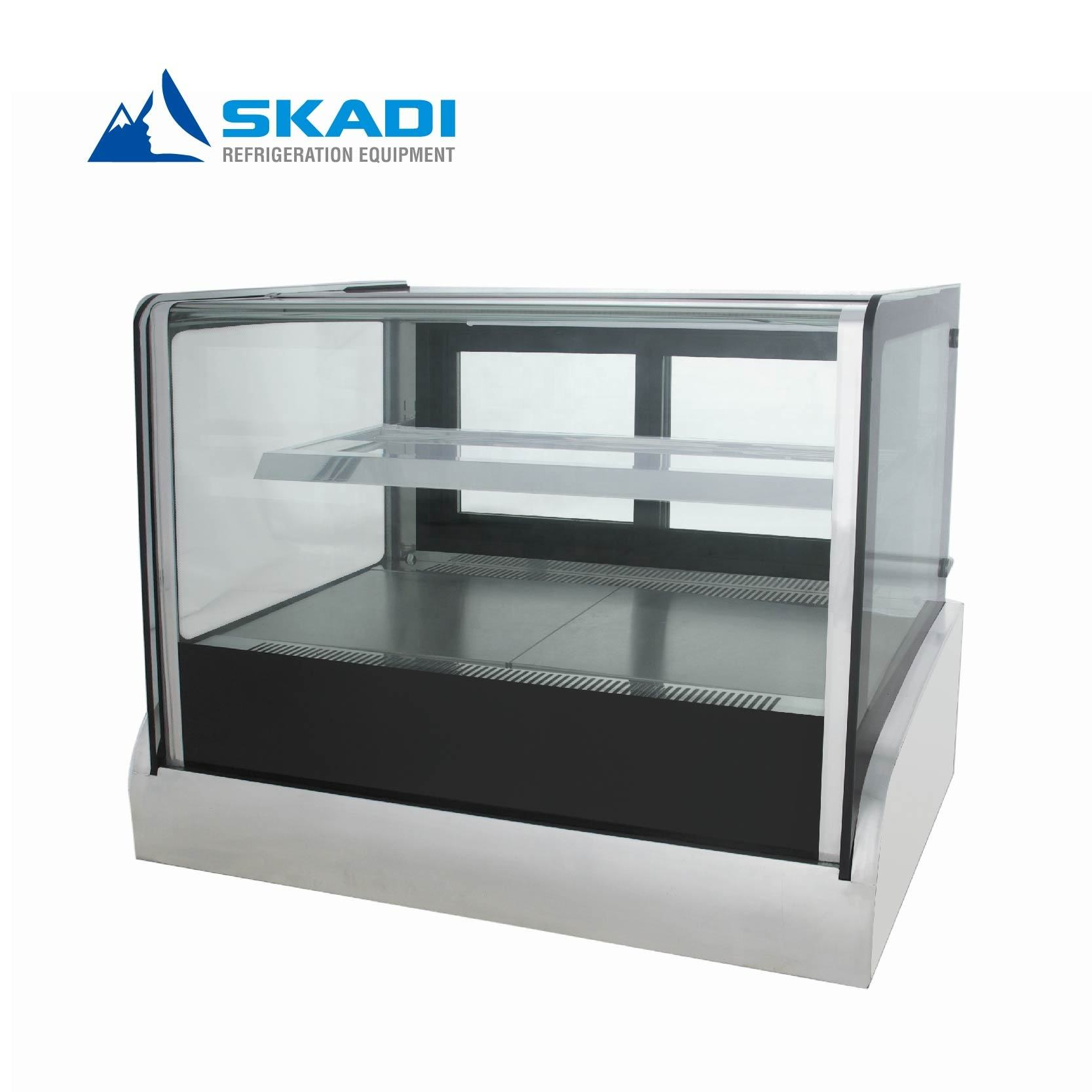 Right angle glass countertop refrigerated display countertop cake display fridge case deli cabinet showcase