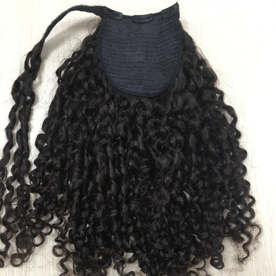 HOT PRODUCT ponytails for Curly NATURAL black from human hair ponytail hair extensions.