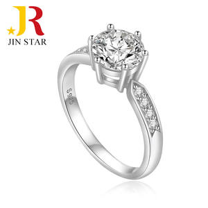 Wholesale cheap women jewelry 6 claws solitaire wedding sterling silver cubic zirconia ring