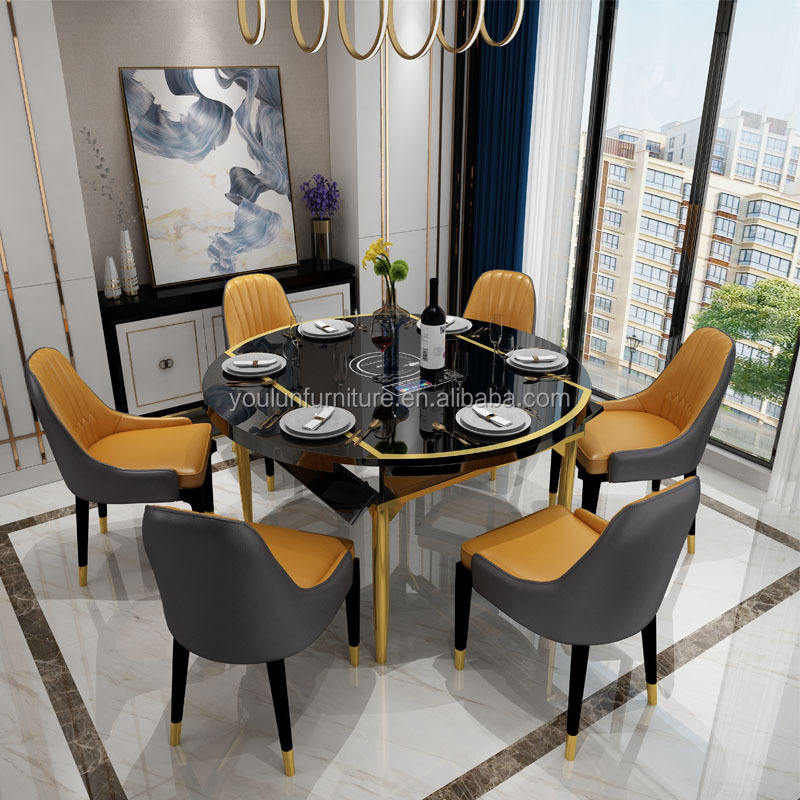 White Luxury 4 6 8 Seater Marble Modern Top Dining Table Chairs