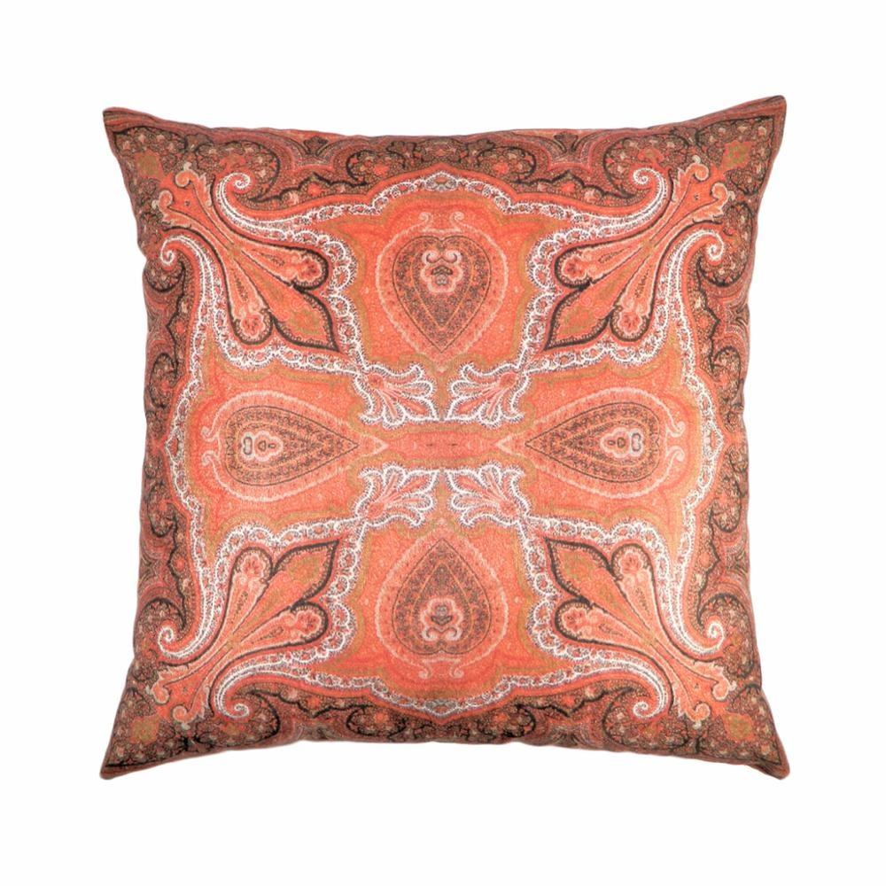 Rust & Multi Color Polyester Velvet Digital Printed Pillow Case Cushions for Home Decor Pillow Cover