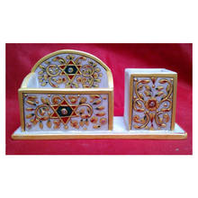 Gorgeous Marble Gold Painted Decorative Pen & Card Holder