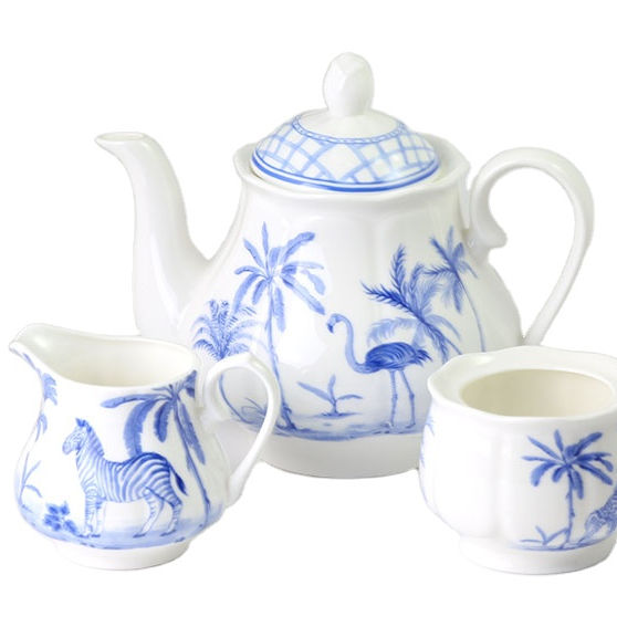 ZHM-18032TCS blue pattern design 15pcs ceramic tea set gift ware wholesale