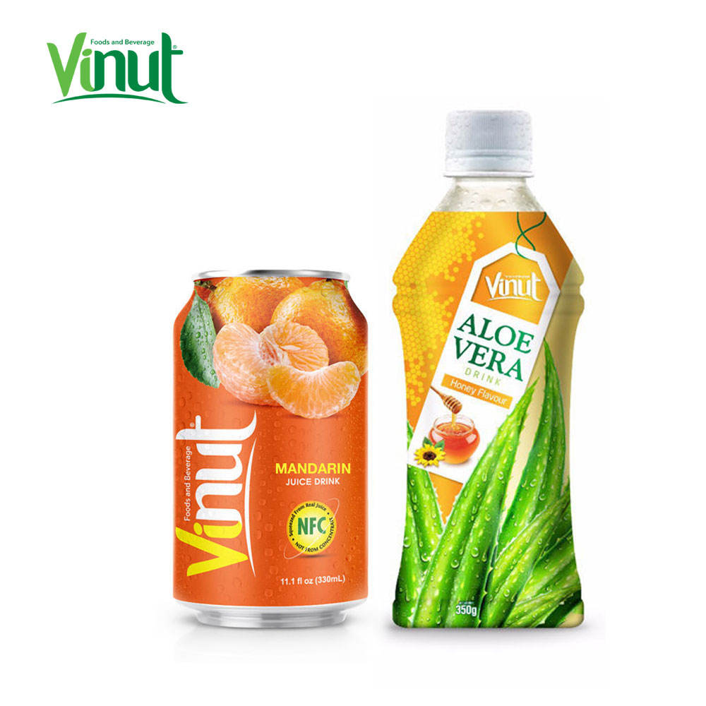 350ml VINUT Bottled Natural 100% Aloe Vera Juice With Honey And Lime Soft Drink Product From Thailand