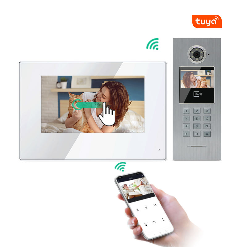 IP apartment video door phone with wifi doorbell camera and IC card access control app Tuya