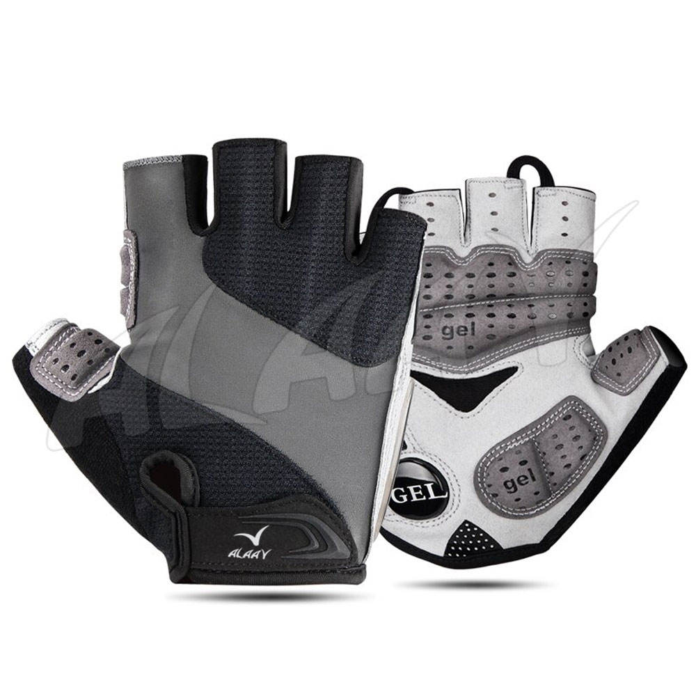 Half Finger Stripe Fabric Fahrrad handschuhe Atmungsaktives Gel Anti-Schock-Sport handschuhe MTB Bike Bicycle Glove