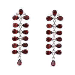 925 Sterling Silver Earrings with Garnet
