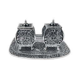 Antique Silver Tea Coffee Cookie Candy Vintage Silver Oxidised Jars With Tray