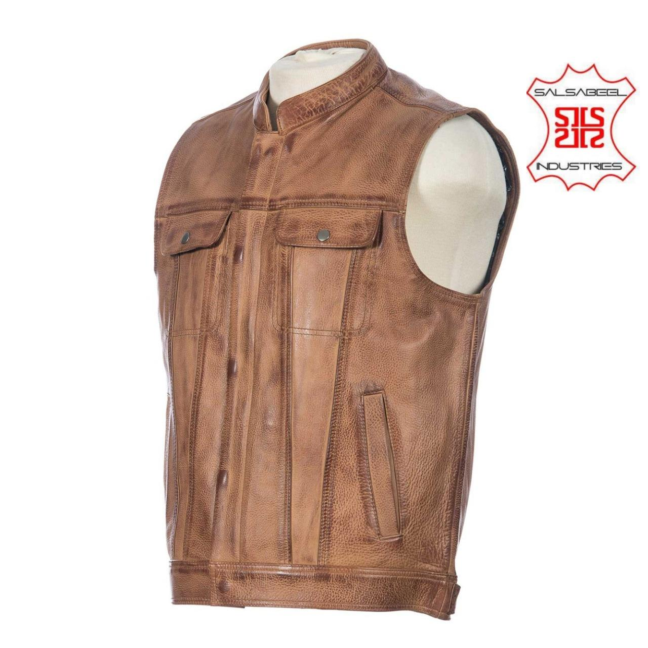 Fashion casual street wear Men's Sheep Leather vest