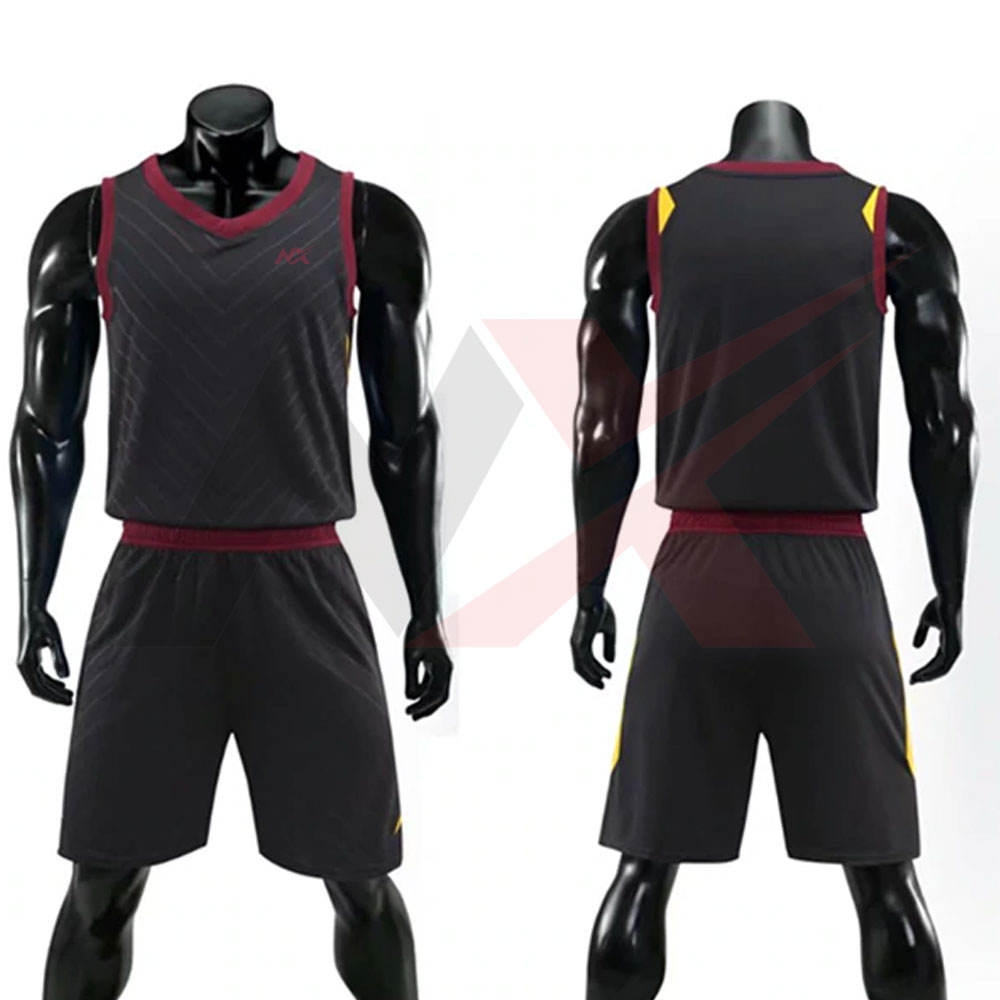 New Design Black And Red Men Sports Wear Training Basketball uniform Set