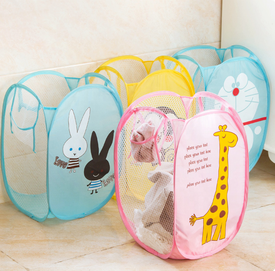 Hotsale Nylon + Steel Wire Laundry Basket Storage Bag Dirty Clothes Toy Box Bathroom 30*30*48cm