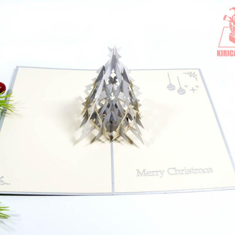 A.White Pine Tree Pop Up Card Vietnamese Printing kirigami Card 3D Greeting Card