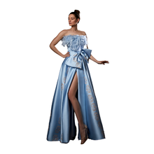 Ziad Germanos Micado Feathered Strapless Slit Gown Blue Sleeveless Floor Length Formal Gown