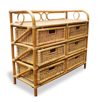 Hot Sale Rack Rattan Natural with 6 Drawers