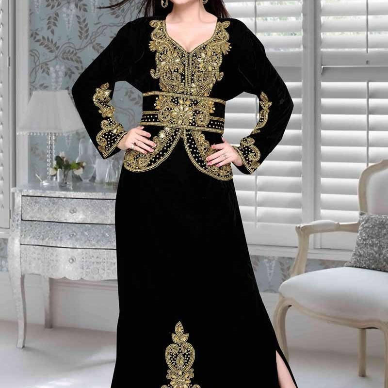 Morocco Kaftan with exclusive embroidery and stone work partywear kaftan c5