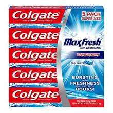 Max Fresh Toothpaste with Mini Breath Strips Flavor Cool Mint 5 pack