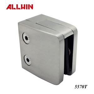 Stainless Steel Square Tube Flat Base Security Plate Glass Clamp