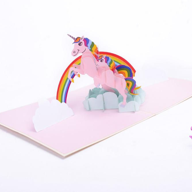 3D Belle Carte D'anniversaire Impression Licorne Pop-Up Carte Meilleur Vendeur