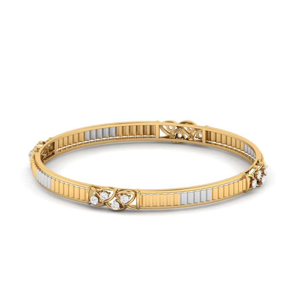 18K 14K Yellow Gold Real Round Cut Diamond Party Wear Bangle Bracelet At Best Offer