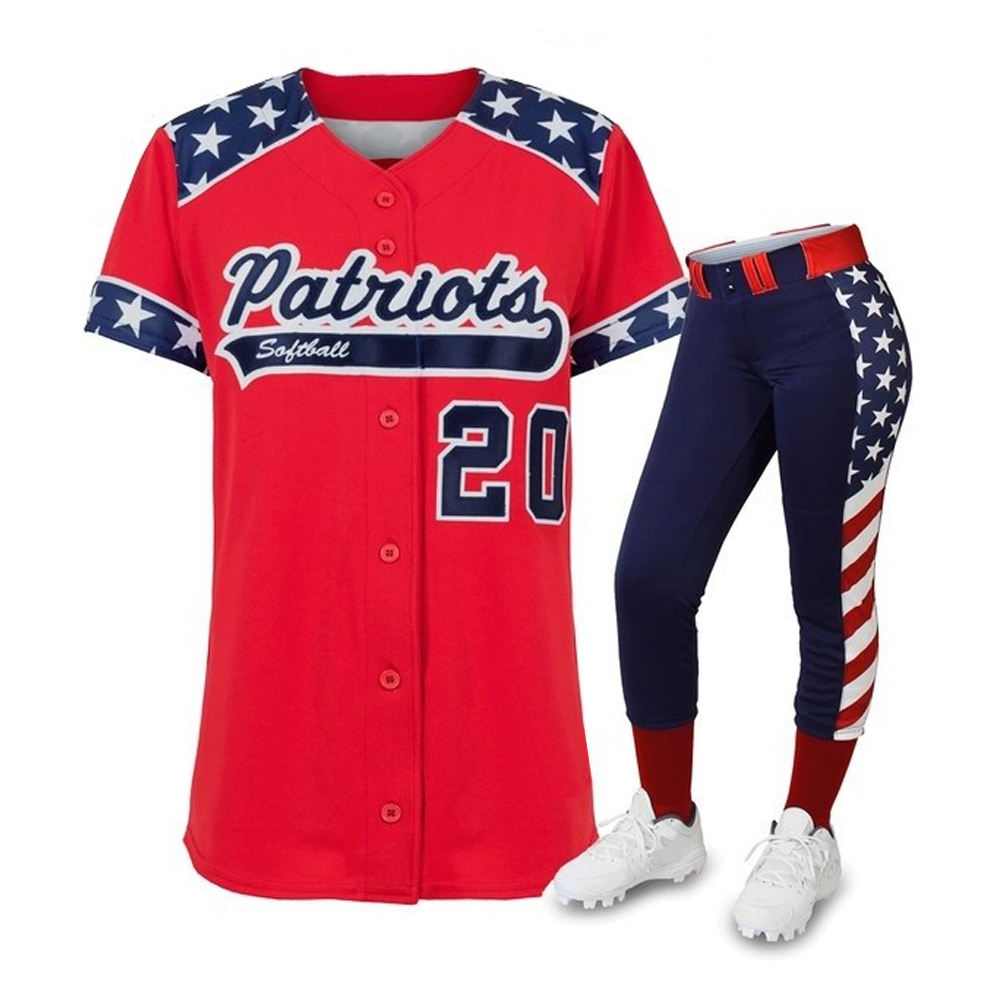 Custom Flag Design Comfortable New Style Softball Uniforms Women's Sports Jersey & Pant Suit For Training