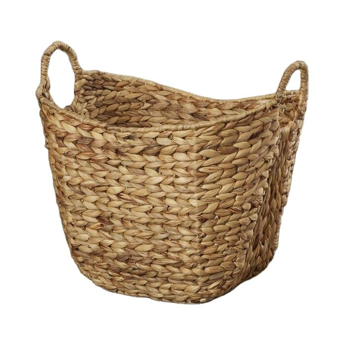 Woven Water hyacinth laundry basket with handles Water Hyacinth Wicker Basket Handicraft From Vietnam