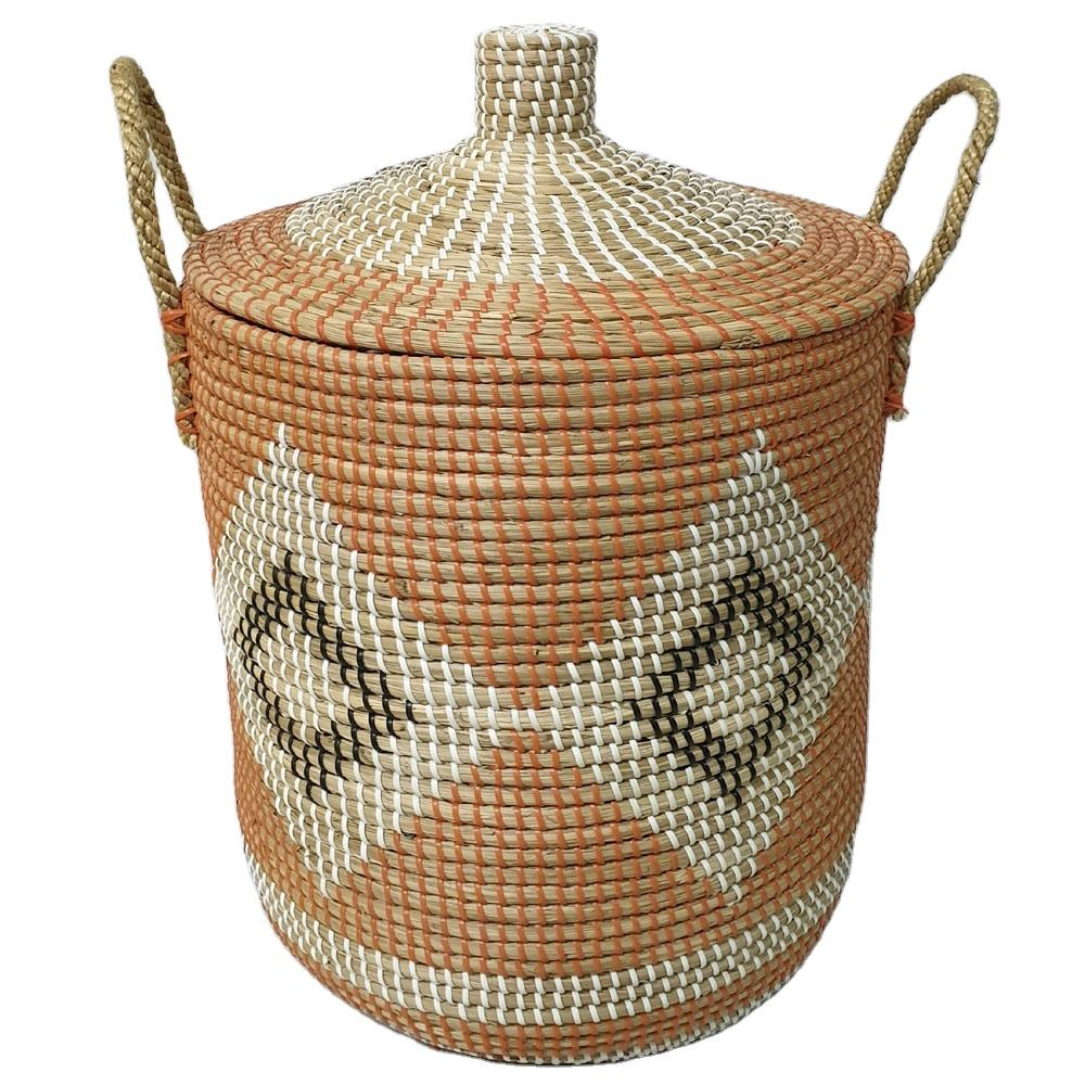 manufacture Vietnam woven seagrass household cleaning seagrass laundry basket with lids