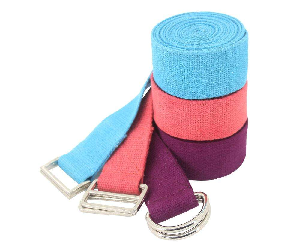 Metallic adjuster buckle Indian made custom logo available yoga strap 100% cotton