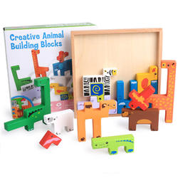 High quality montessori 3D wooden animal jigsaw puzzle educational tetris blocks puzzle toys for kids