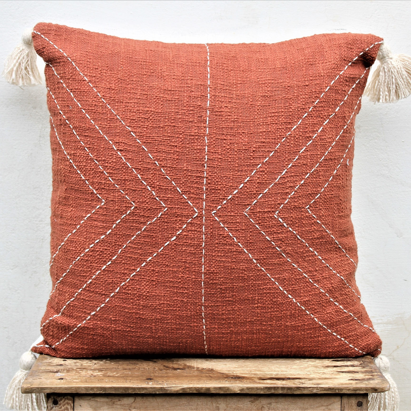 Decorative Handwoven 20 X 20 Cotton Pillow Cover with tassels Living room Sofa Couch Cushion Cover Modern Pillow Cover