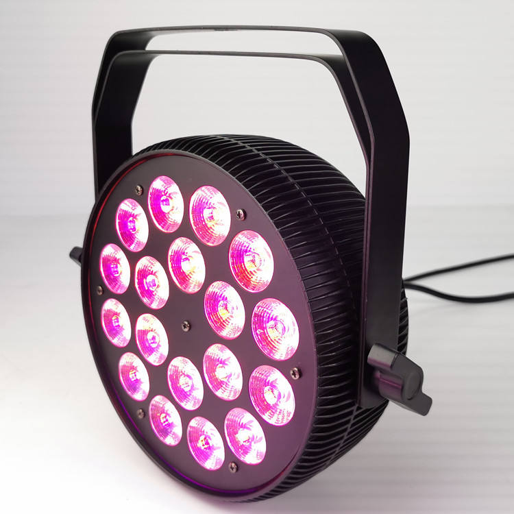 Pro dj stage event light 18 x 18W RGBWAUV 6IN1 slim led par flat