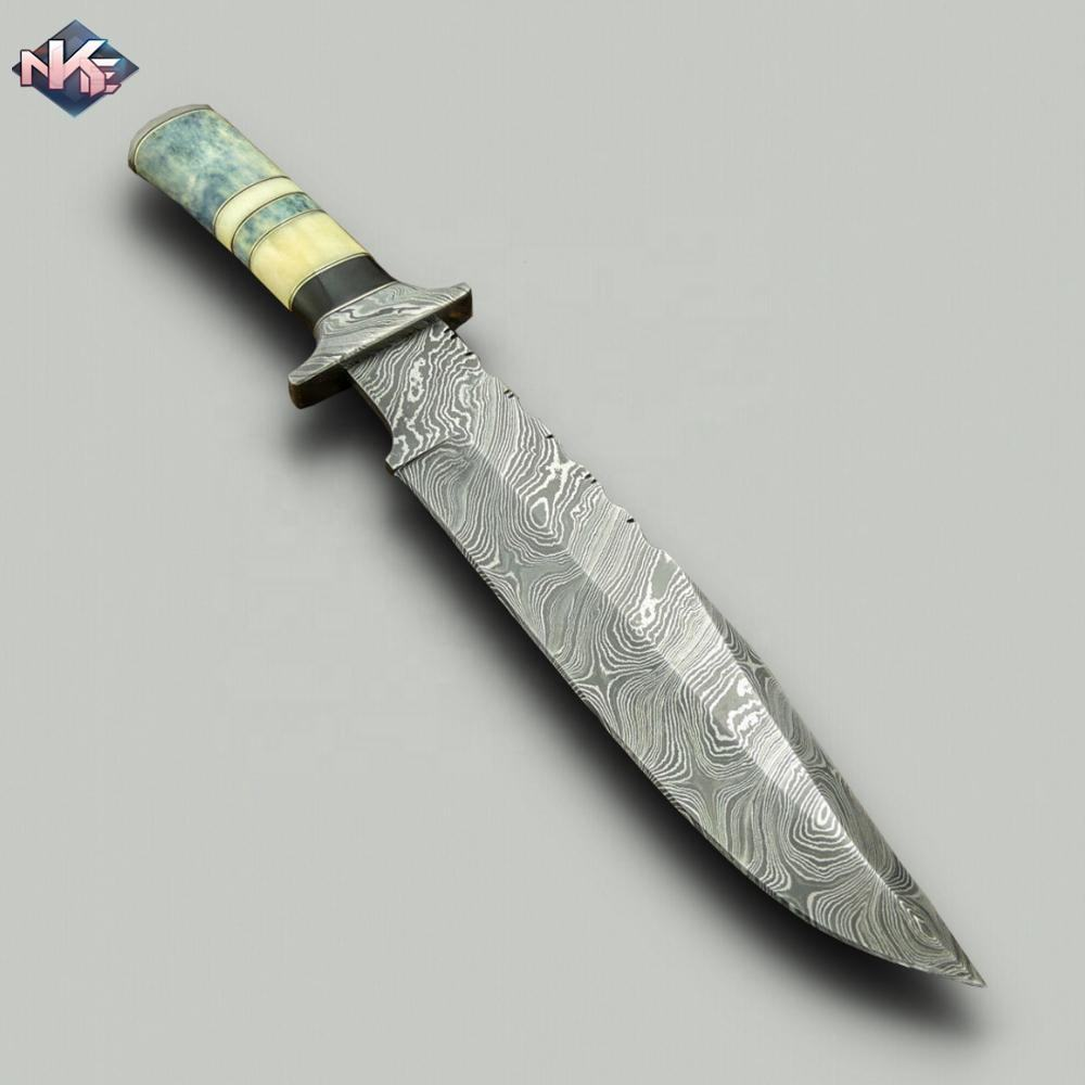 HANDMADE DAMASCUS STEEL BOWIE KNIFE TINTED CAMEL BONE HANDLE