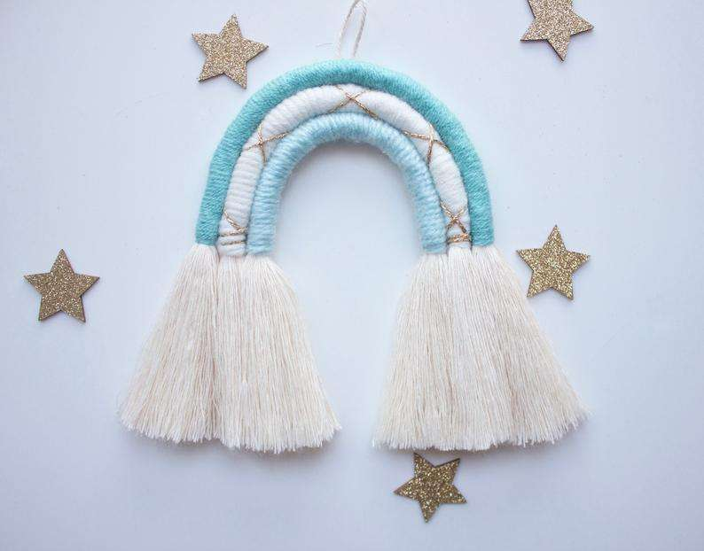 Blue Cream And Gold Rainbow Fibre Hanging Wall Decor