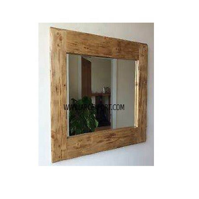 wooden rectangle large wall mirror