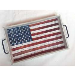 2020 New Wooden distressed tray with distressed American Flag or any country distressed flag