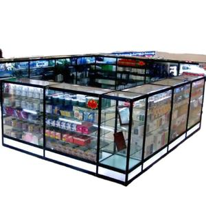 China Manufacture Glass Luxury Lighting Vitrine Glass Corner Showcase