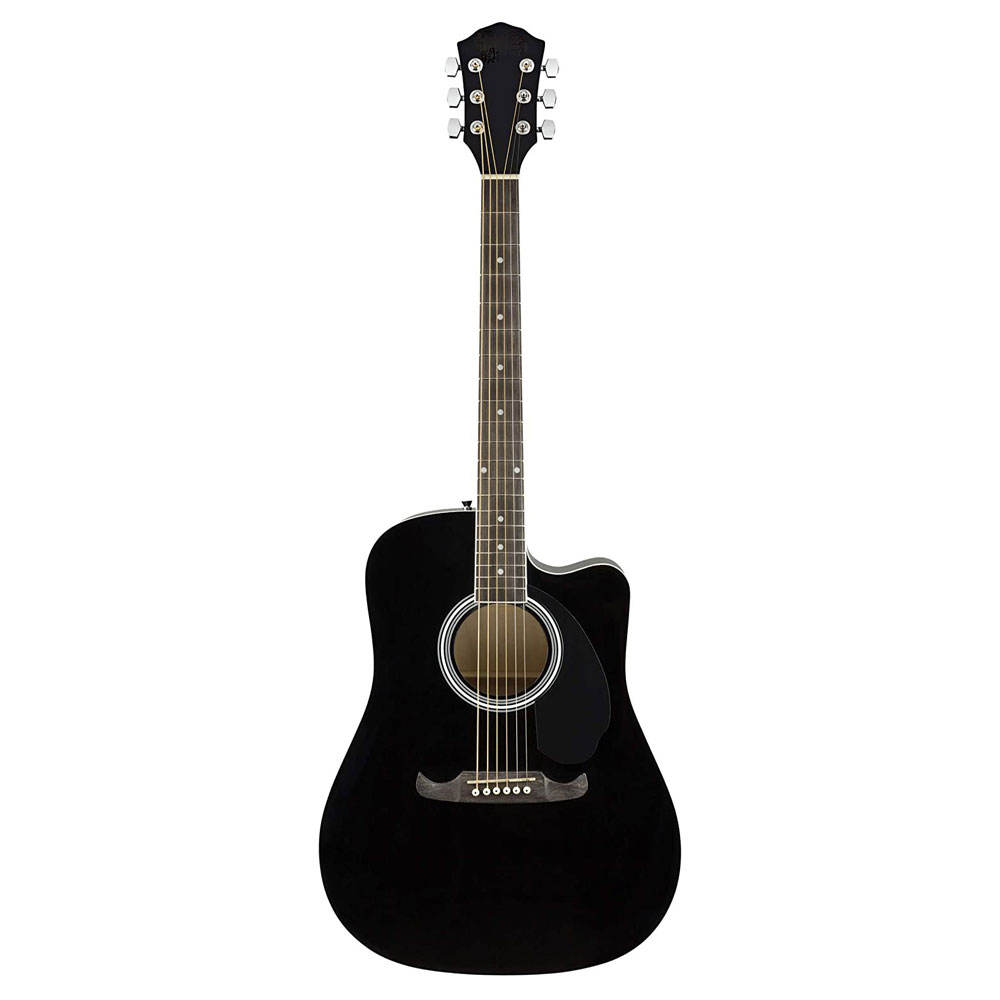 F e n d e r FA-125CE Acoustic-Electric Guitar Black Bundle with Gig Bag, Strap, Strings, Picks, Play