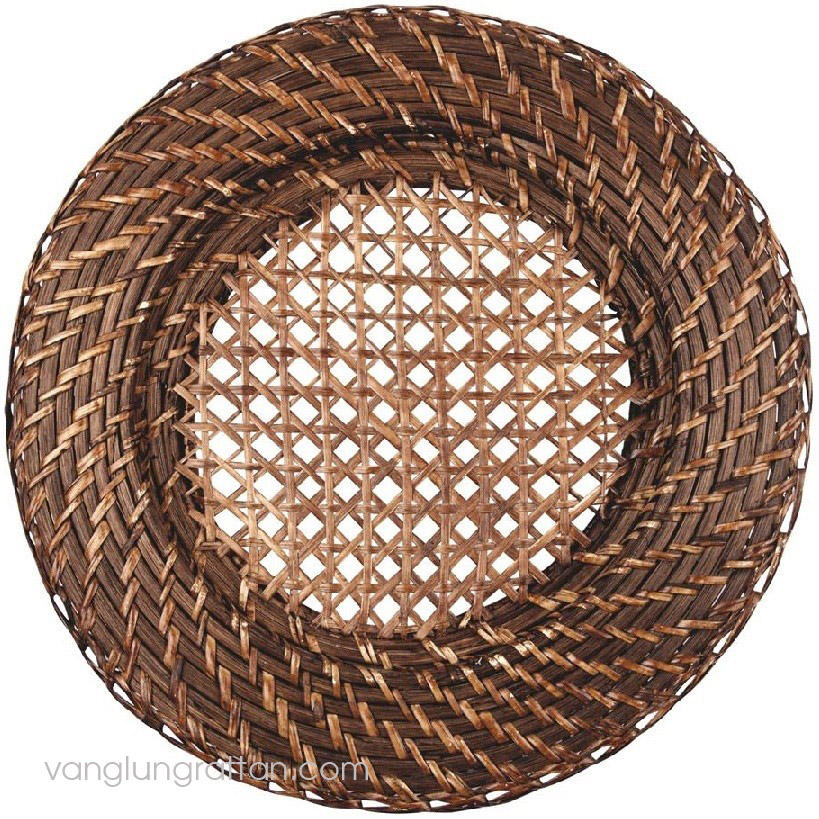 High quality hand-woven natural material wholesale rattan charger plate for wedding party from Vietnam