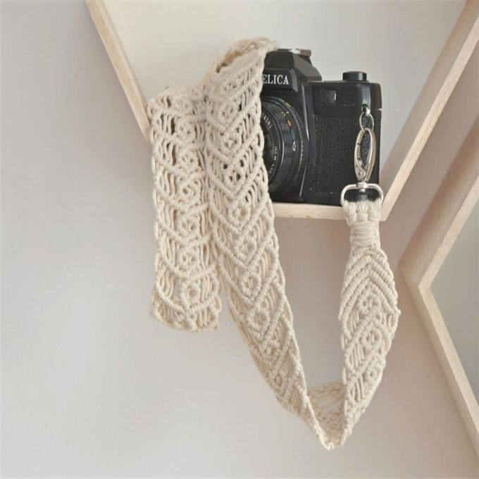 New best W10001 Macrame white camera strap Woven natural cotton cord shoulder Gift with hearts for photographer and traveler