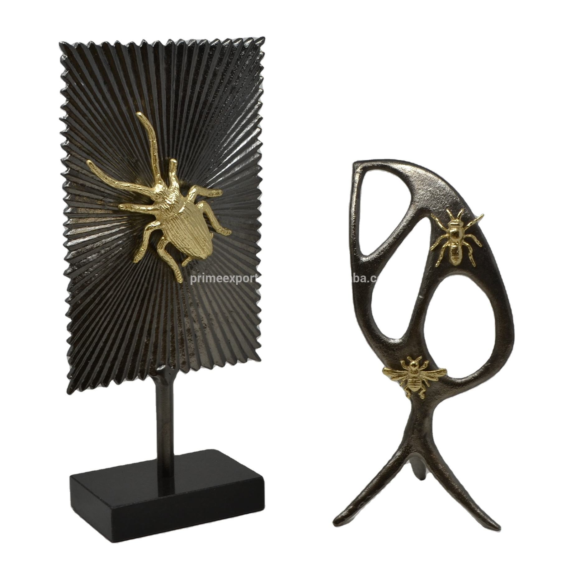 Zwart En Goud Insecten Metal Designer Decoratief Object Accenten Showcase Pronkstuk Voor Home Decor