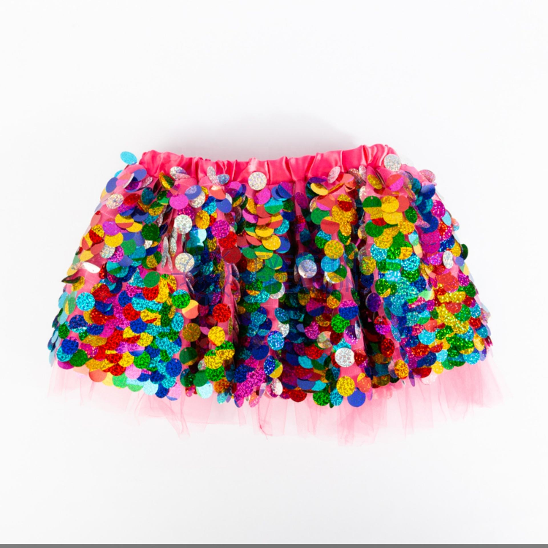 CARNIVAL FESTIVAL NOVELTY ACCESSORIES CHIFFON SKIRT WITH COLORFUL SEQUINS- BOTTOM COSTUME