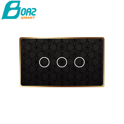 Boaz WiFi Smart Light Wireless Wall Switch Smart Touch Panel Black Circle 3 Gang WiFi Touch Switch