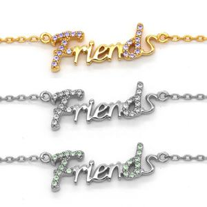 925 Sterling Silver Rhodium Plated Italic Letter Friends Friendship Graduation Souvenir Necklace Jewelry Women
