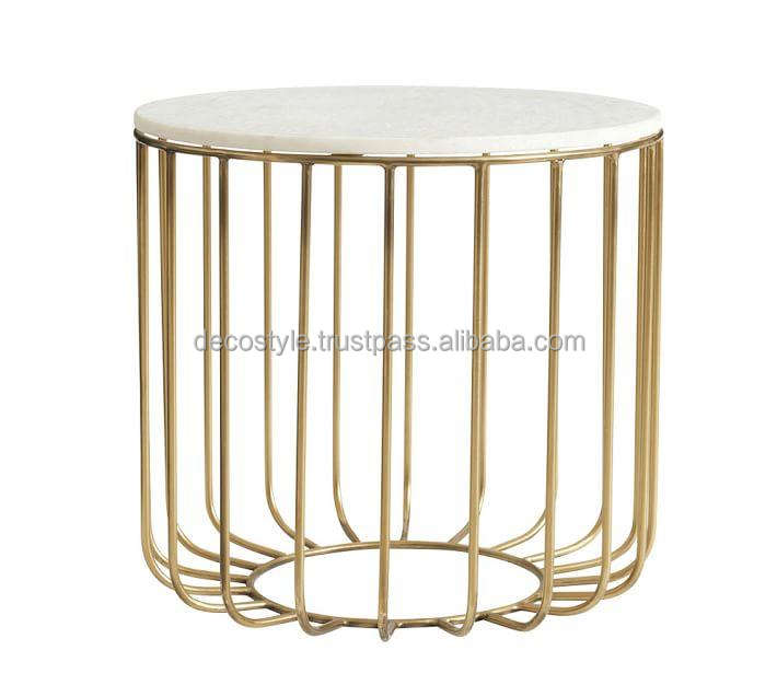 Gold Base Marble Top Accent Table