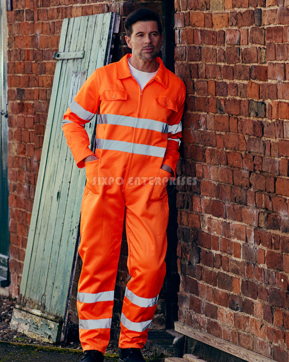 OEM Service Safety Coverall Welder Work/Orange & Yellow 3-M Hi Vis Boiler suit Coverall Zipped Safety Work Coverall