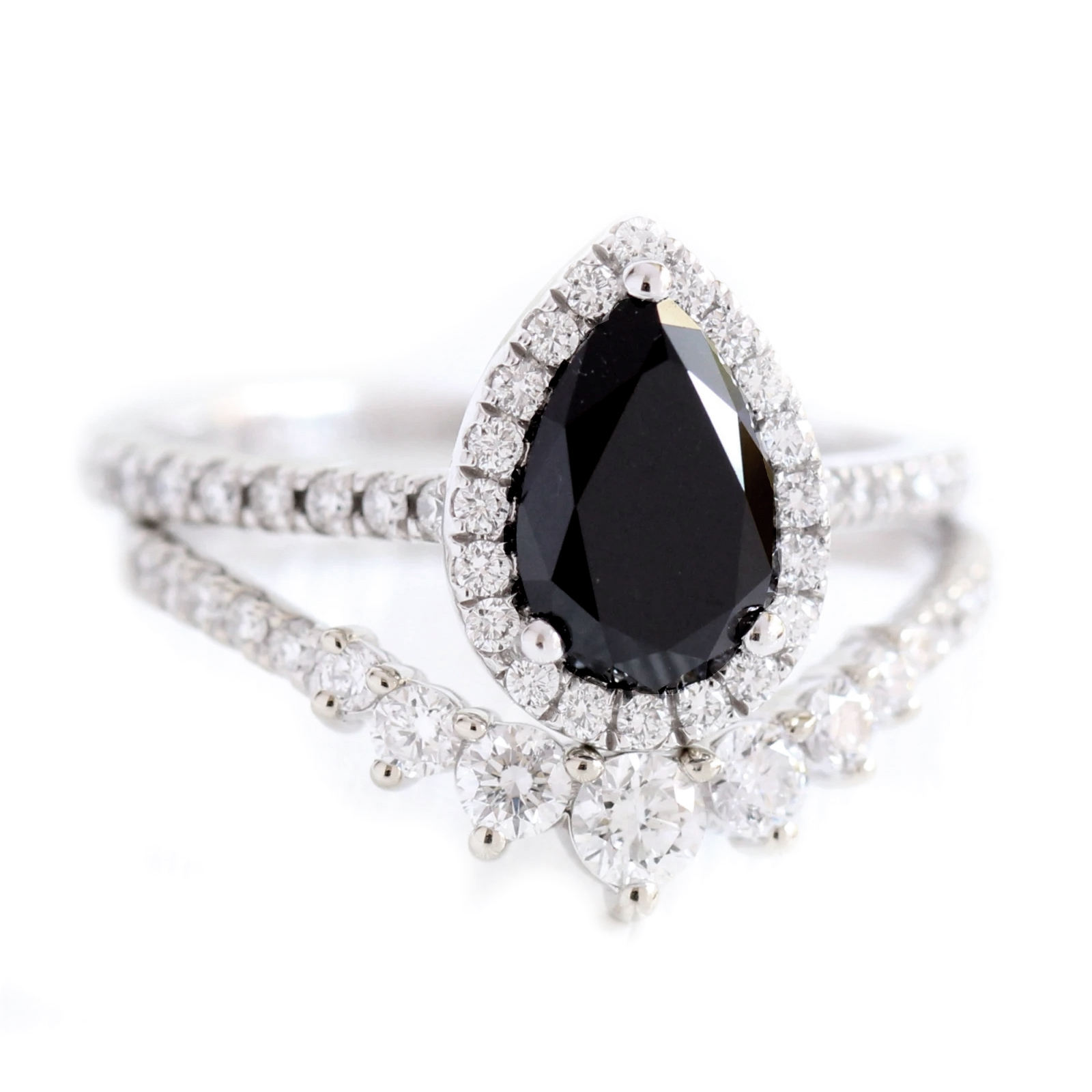 Tiara Ring 925 Sterling Silver Pear Cut Black Spinel Halo Engagement Ring Silver Gold Women Ring