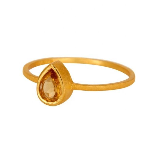 Wholesale elegant ladies jewelry gold plated 925 sterling silver citrine gemstone ring