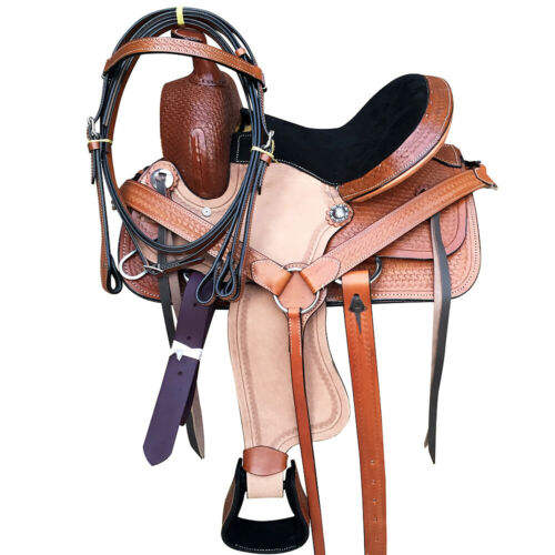 Cowboy Roughout Ranch Training Work Reining Trail Western Leather Saddle