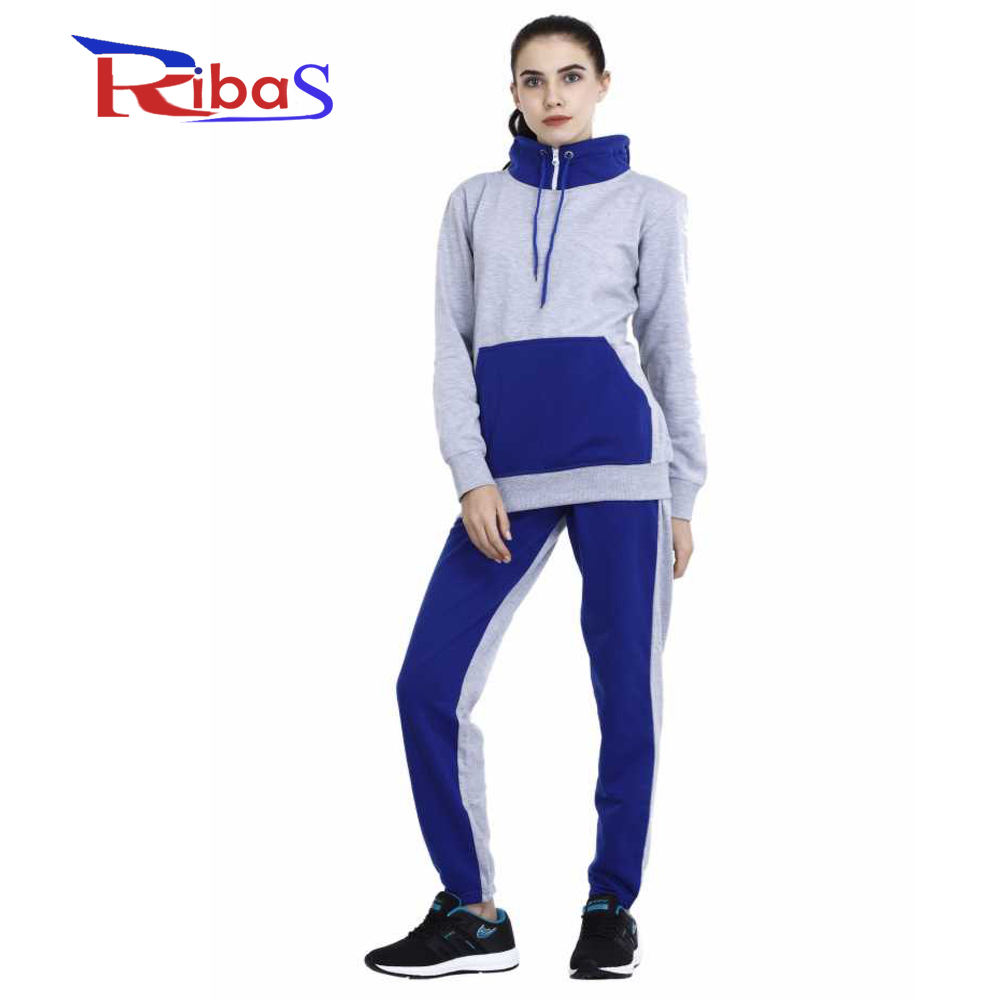 Back cap hoodie style tracksuit Gray suit with blue pocket strips for cap new latest design home and outdoor use women tracksuit
