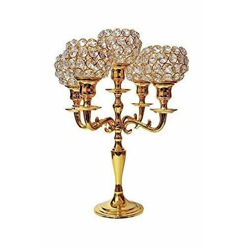 Customized 5 Gold Plated Wedding Table Decoration Candelabra With Crystal Bowls Votive Candle Stand